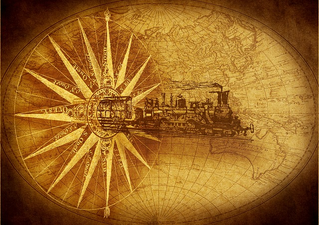 Steam Locomotive, Compass, Map Of The World, Drawing