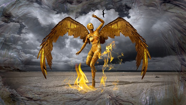 Angel, Gold, Composing, Fire, Flame, Figure, Pose