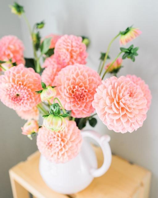 Dalia, Flowers, Vase, Bouquet, Plant, Composition