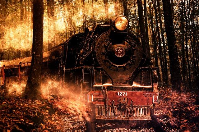 Locomotive, Composition, Photoshop, Fire, Brute