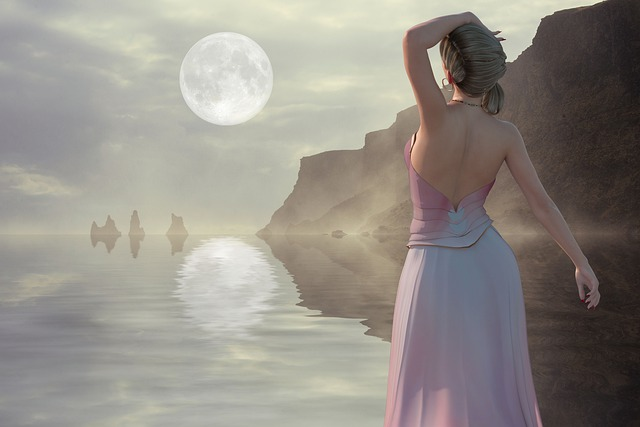 The Moon, Reflection, Watch, Sea, Fantasy, Composition
