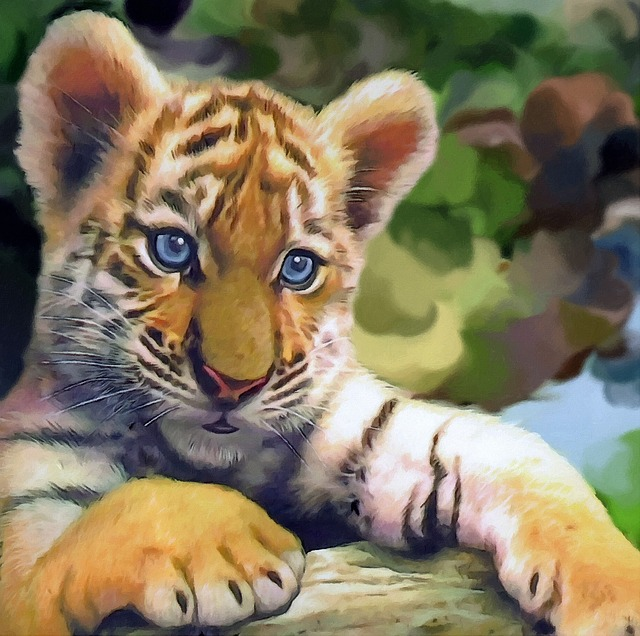 Computer Art, With Structure, Tiger Baby, Tiger