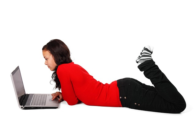 Browsing, Computer, Female, Floor, Girl, Internet