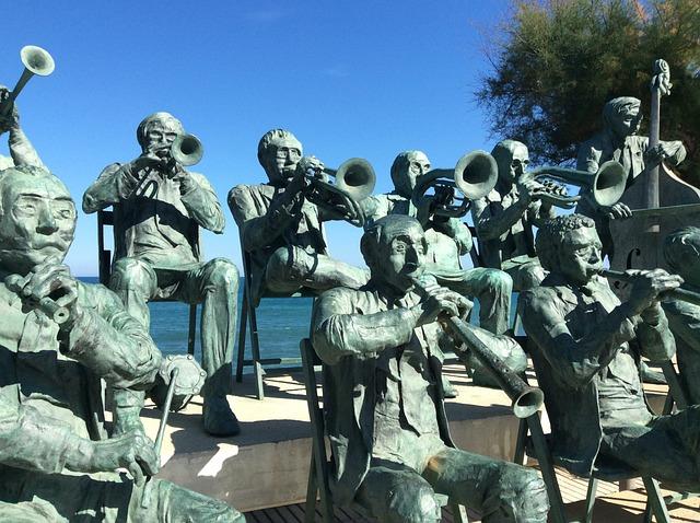 Musicians, Bronze, Gerona, Seaside, Sculpture, Concert