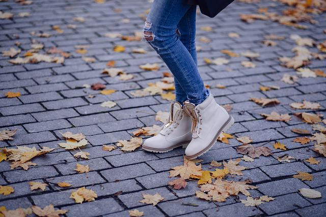 Autumn Leaves, Brick, Cement, Cobblestone, Concrete