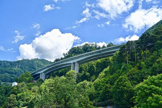 Freeway, Overpass, Bridge, Concrete, Nature, Forest