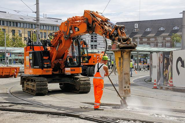 Site, Construction Workers, Tram, Traffic, Concrete