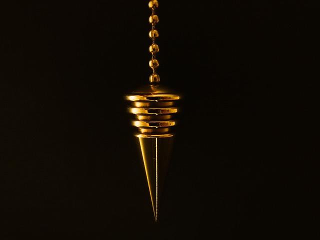 Pendulum, Cone, Chain, Gold