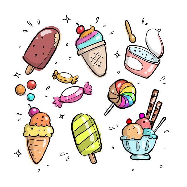 Doodle, Cartoon, Drawn, Cone, Food, Sweet, Waffle