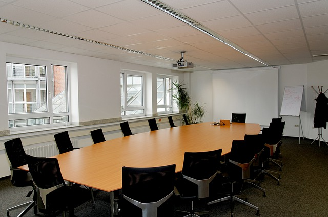 Conference Room, Table, Chairs, Beamer, Window