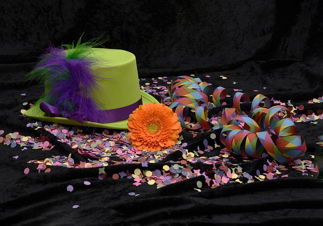 Hat, Feather, Confetti, Streamer, Colorful, Gerbera
