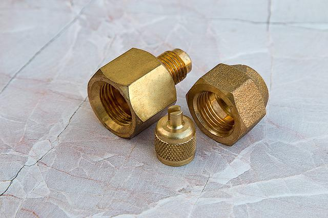 Fittings, Hardware, Piping, Connector, Golden