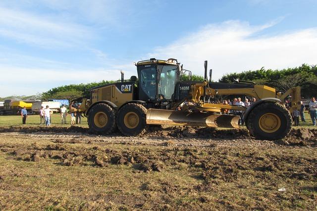 Grader, Road, Construction, New, Cat, Rural, Wheel