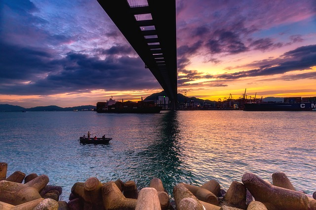 Construction, Bridge, Sunset, Landscape, Natural, Sea