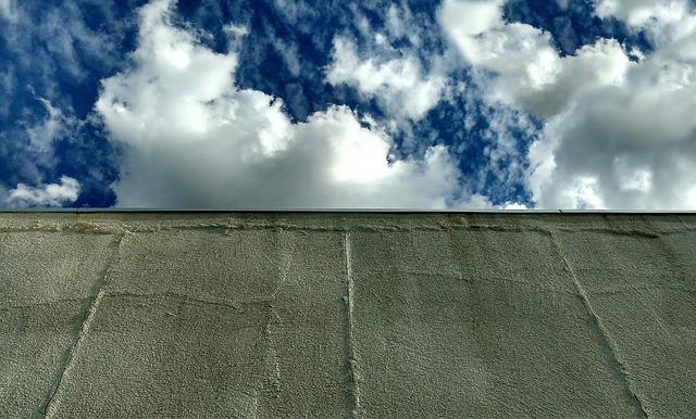 Wall, Sky, Clouds, Construction, Architecture, Cement