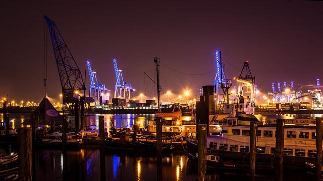 Hamburg, Harbour Museum, Container Port, Night, Cranes
