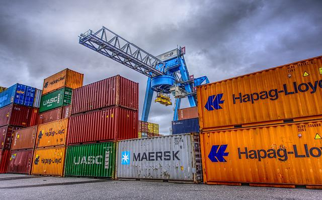 Container, Port, Loading, Stacked, Container Terminal