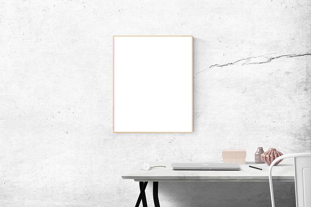Blank, Desk, Frame, Simple, Mockup, Contemporary