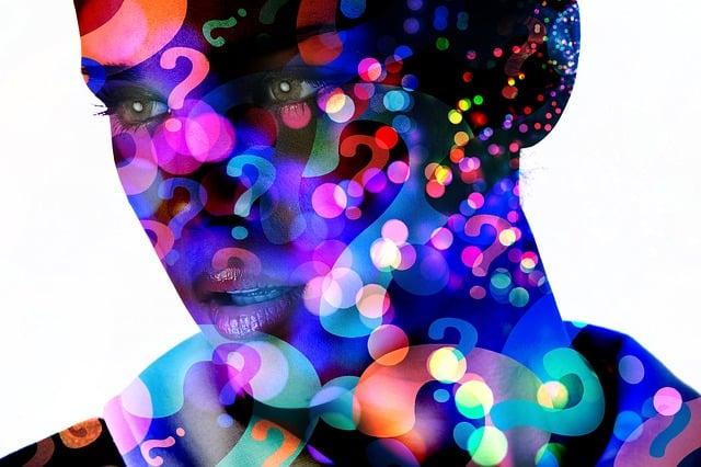 Question Mark, Face, Silhouette, Bokeh, Woman, Content
