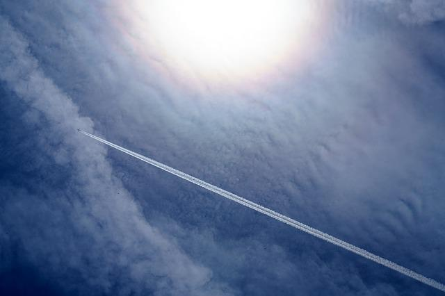 Aeroplane, Aircraft, Airplane, Clouds, Contrail, Flying