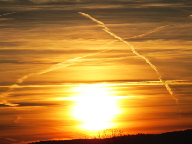 Sun, Sunset, Yellow, Golden, Sky, Clouds, Contrail