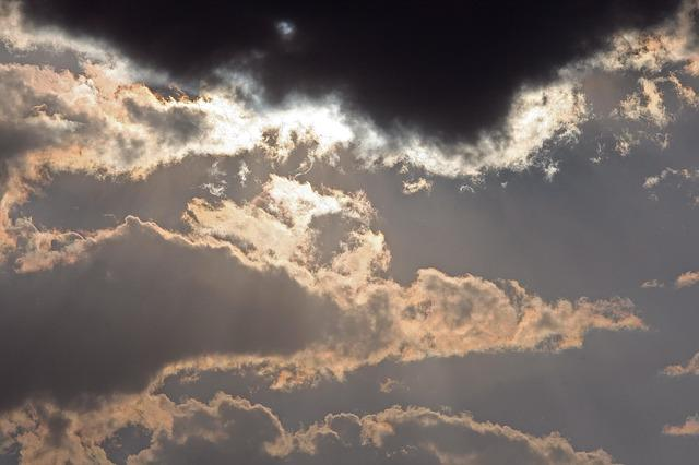 Glistening Clouds, Sky, Clouds, Dark, Light, Contrast