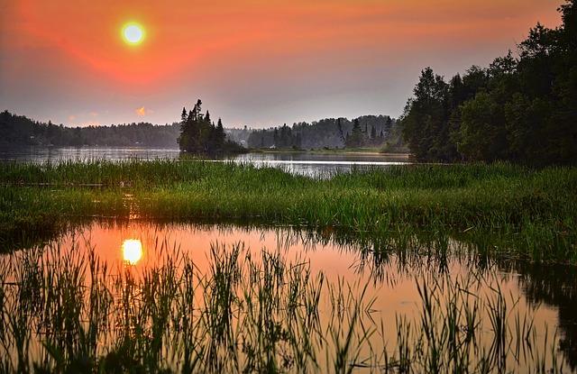 Sunset, Lake, Landscape, Summer, Twilight, Contrast