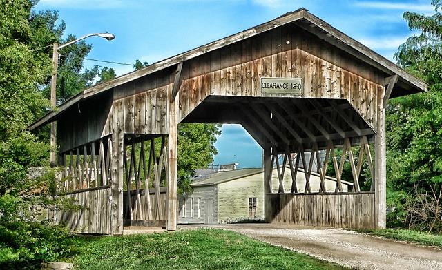 Cook, Nebraska, Covered Bridge, Landmark, Historic, Sky