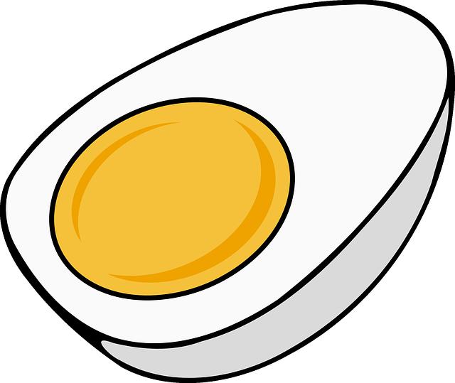 Egg, Hard Boiled, Sliced, Yolk, Half, Cooked, Food