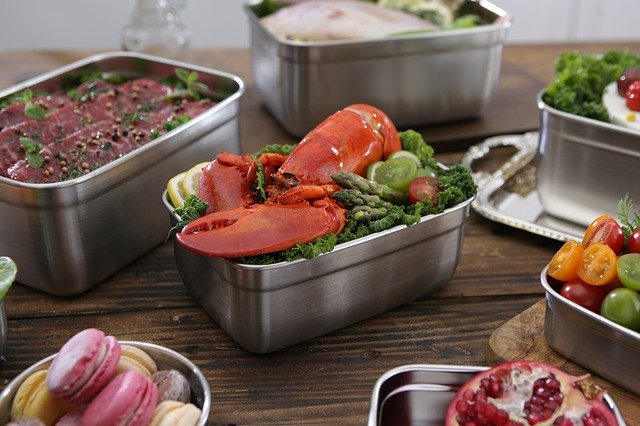 Lobsters, Stainless Steel Containers, Cooking