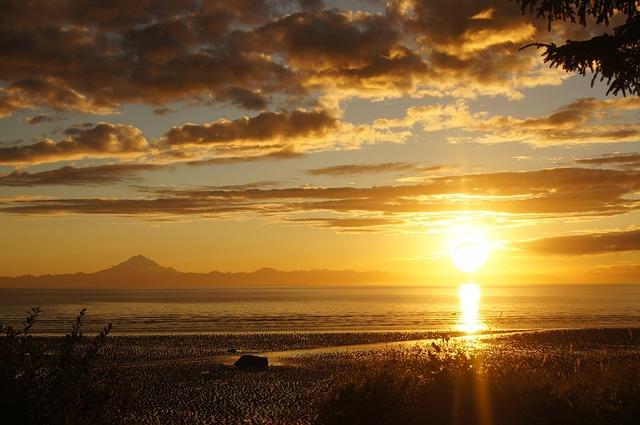 Sunset, Alaska, Cook's Inlet, Nature, Sky, Water