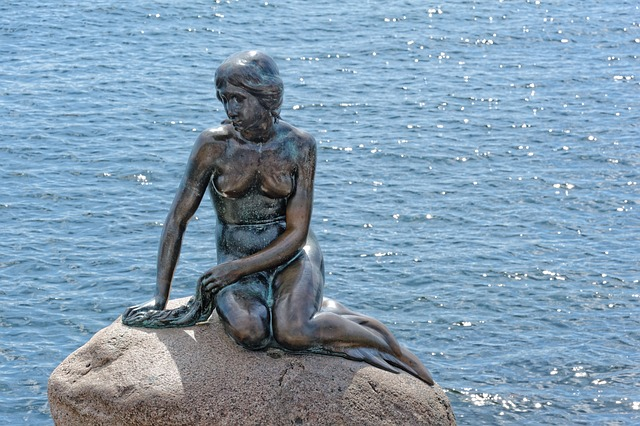 Water, Monument, Copenhagen, Denmark, Mermaid