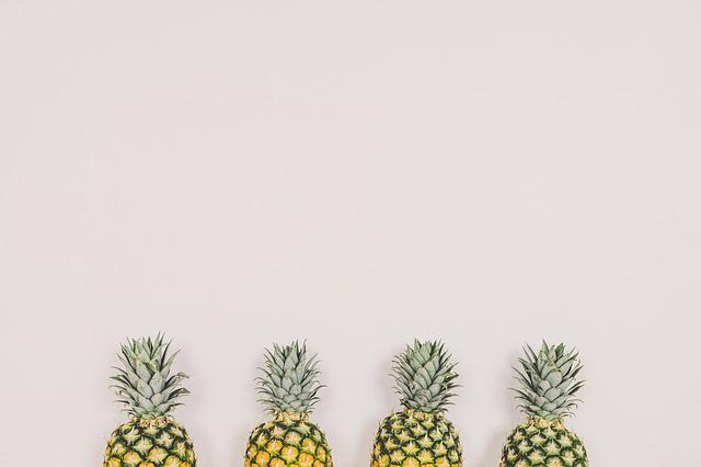Pineapples, Fruit, White Background, Wall, Copyspace