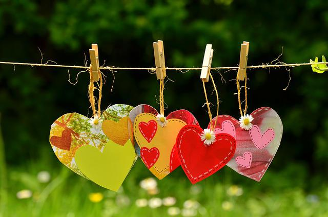 Hearts, Clothespins, Clothesline, Hang, Hanging, Cord