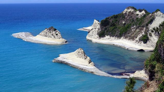 Cove, Beach, Rock, Turquoise, Corfu, Sea, Limestone