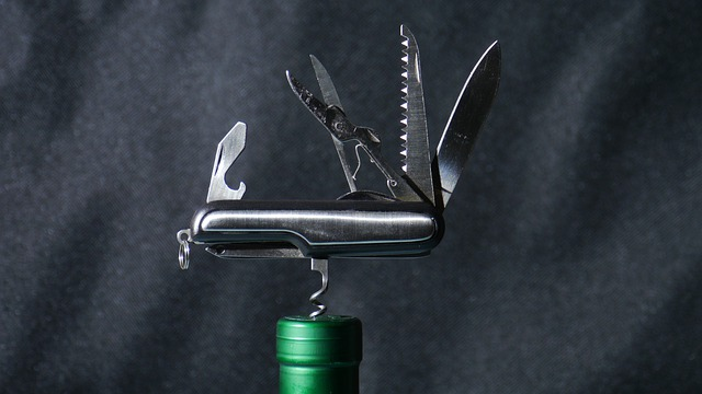 Tool, Army Knife, Multifunction, Open, Corkscrew, Glass