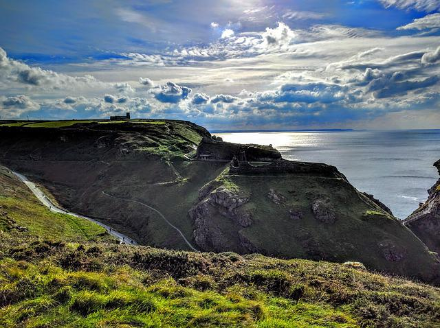 Castle, Cornwall, Coast, Church, Tintagel, Sea, Horizon