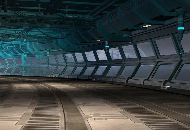 Spaceship, Corridor, 3d, Sci-fi, Future, Interior, Hall