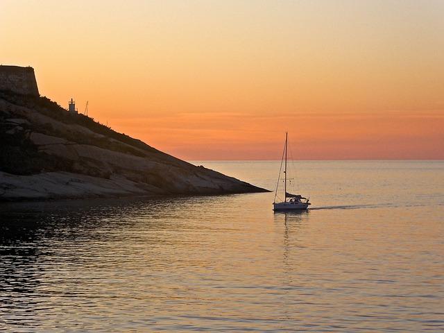 Sunset, Sea, Orange, Boat, Calvi, Corsica, Seascape