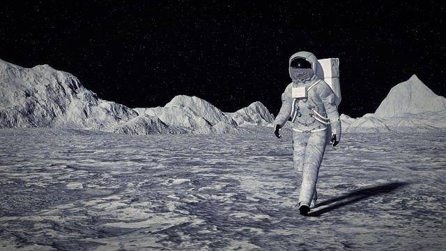 Moon, Cosmos, Cosmonaut, Illustration, Research, Sun