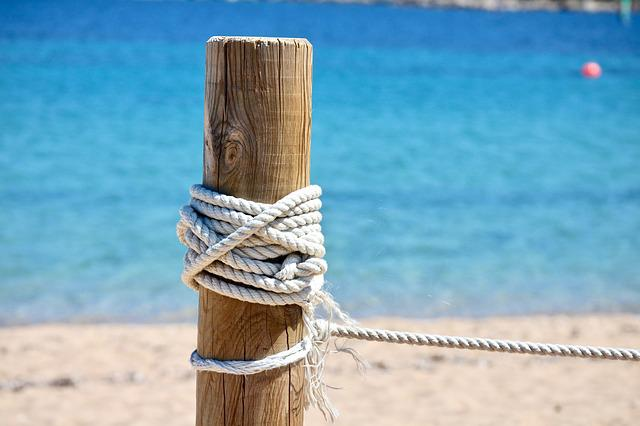Sea, Beach, Costa, Waters, Sand, Rope, Picket Fence