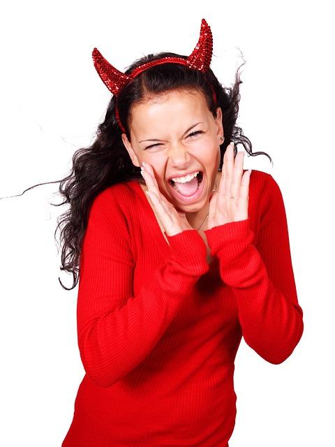Costume, Screaming, Demon, Devil, Evil, Female, Girl