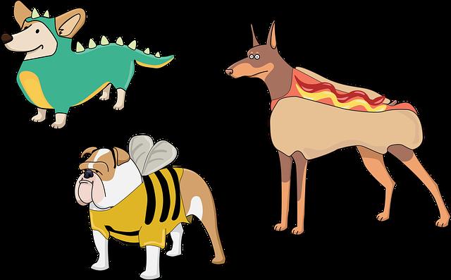 Dog, Puppies, Costume, Dinosaur, Hot Dog, Bee, Cute