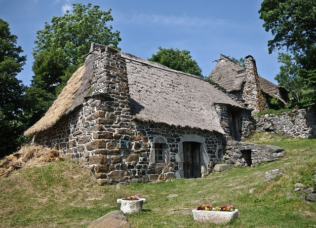 Cottage, House, Thatch, Pierre