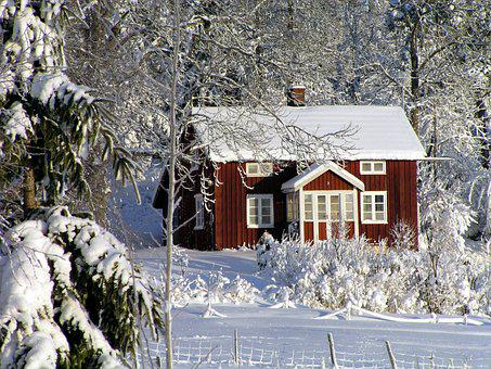 House, Cottage, Winter, Red Cottage, Sweden, Forest