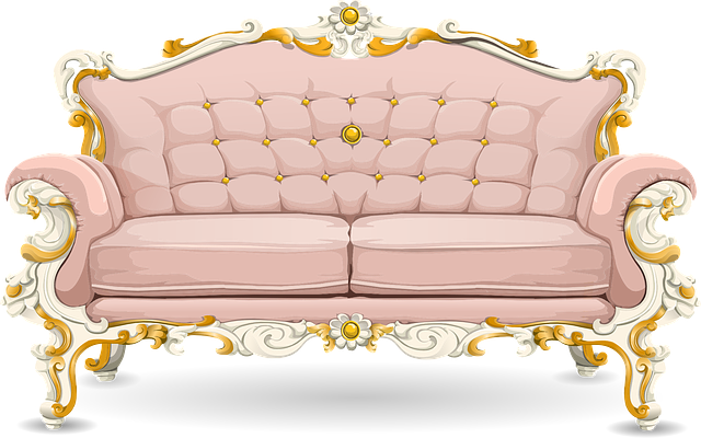 Couch, Sofa, Loveseat, Pink, Ornate, Cushions