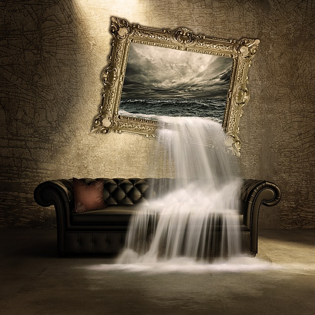 Waterfall, Couch, Image, Surreal, Composing