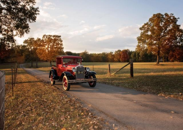 Antique, Ford, Truck, Country, Farm, Fall