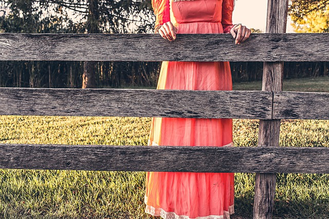 Maid, Maiden, Fence, Countryside, Dress, Red, Casual