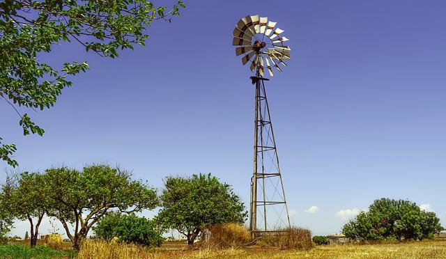 Windmill, Farm, Trees, Countryside, Agriculture
